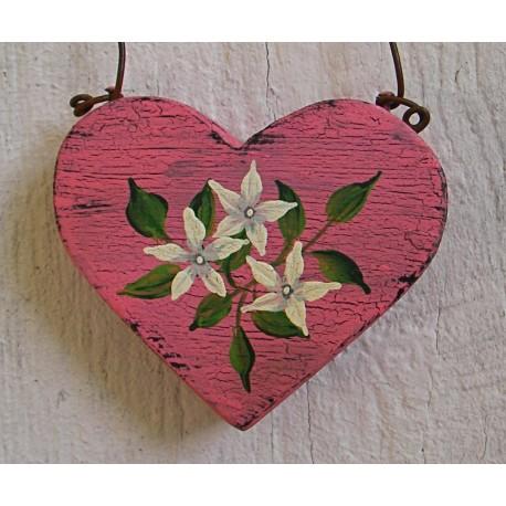 Primitive Folk Art Pink Jasmine Heart Christmas Tree Ornament Original Painting