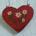 Primitive Heart Christmas Tree Ornament Folk Art Daisy Original Farmhouse Painting