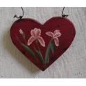 Primitive Heart Pink Iris Christmas Tree Ornament Folk Art Farmhouse Chic Painting