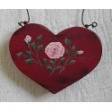 Primitive Heart Pink Rose Christmas Tree Ornament Folk Art Cottage Chic