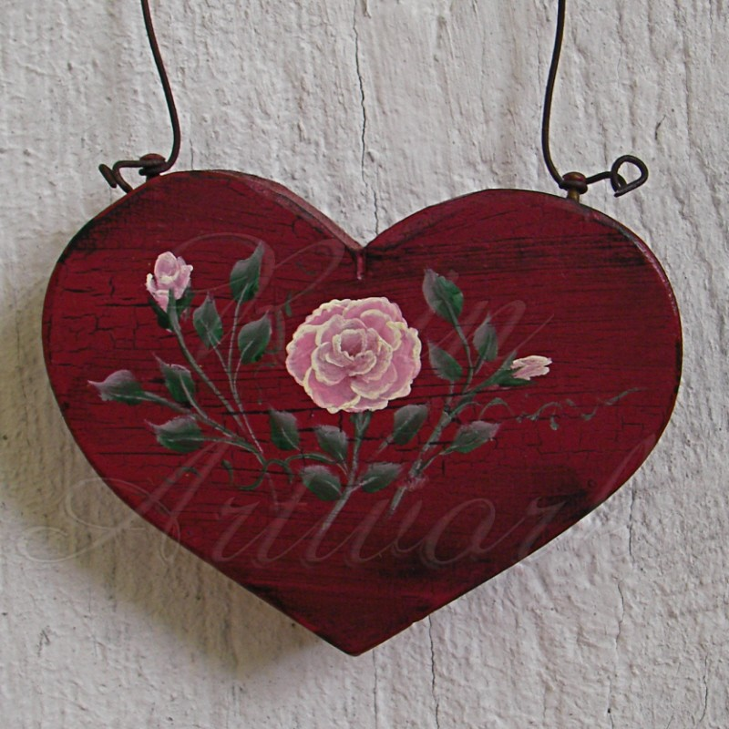 Primitive Heart Pink Rose Christmas Ornament Folk Art