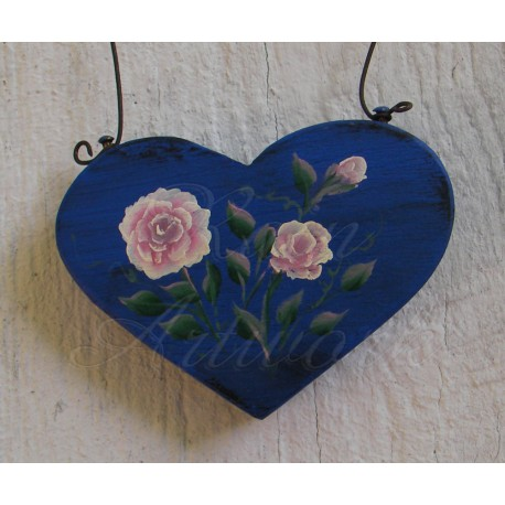 Primitive Heart Pink Roses Christmas Tree Ornament Folk Art Cottage Chic Painting