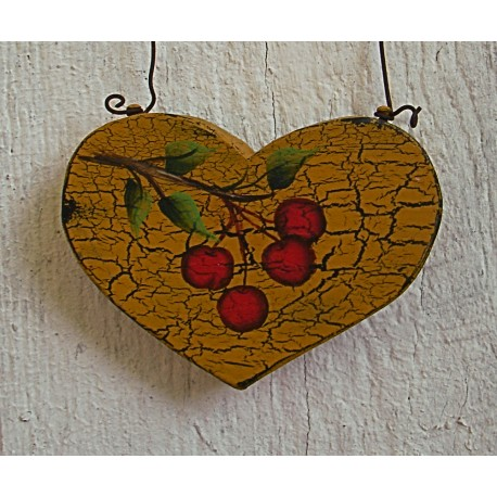 Primitive Christmas Tree Ornament Folk Art Heart Tree Cherry Farmhouse Painting