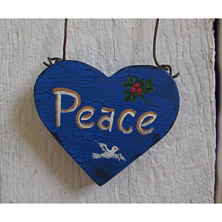 Primitive Peace Dove Holly Heart Christmas Tree Ornament Folk Art Cottage Chic