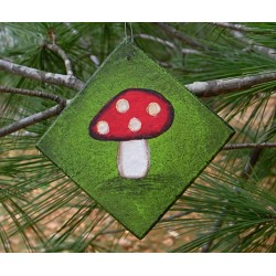Red Mushroom Christmas Tree Ornament Funky Folk Art Original Woodland Painting
