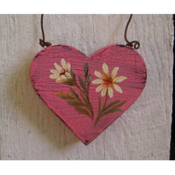 Primitive Pink Heart Daisy Christmas Tree Ornament Folk Art Cottage Chic Painting