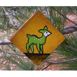 Lime Green Deer Christmas Tree Ornament Primitive Folk Art Original Painting