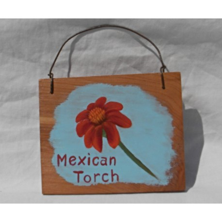 Primitive Folk Art Mexican Red Torch Sunflower Sign Painting