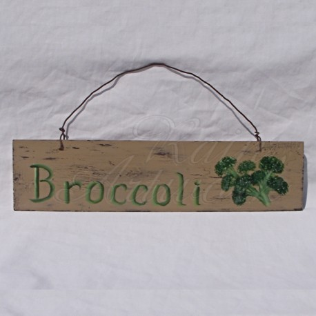 Original Primitive Folk Art Broccoli Sign Farmhouse Painting