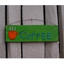 Original Primitive Folk Art Coffee Sign Painting Lime Green Paint