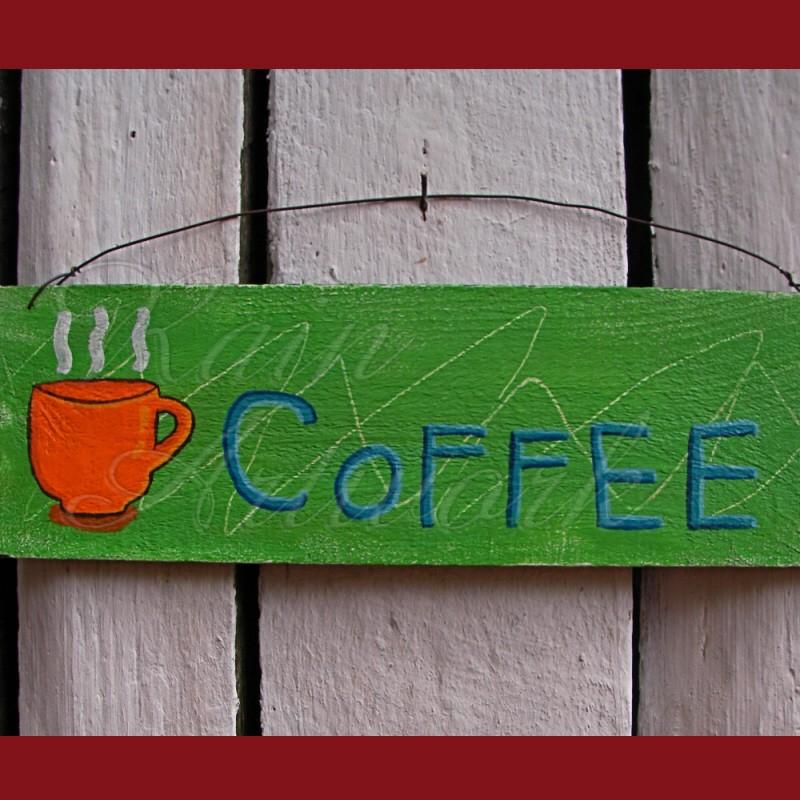original primitive folk art coffee sign painting green. Black Bedroom Furniture Sets. Home Design Ideas