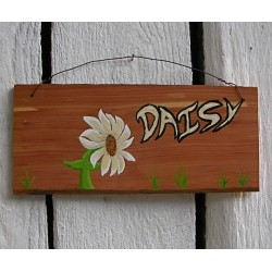 Original Primitive Folk Art Daisy Sign Painting On Salvaged Cedar Wood