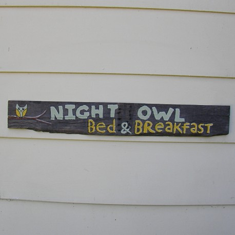 Primitive Folk Art Night Owl Bed and Breakfast Sign Original Painting