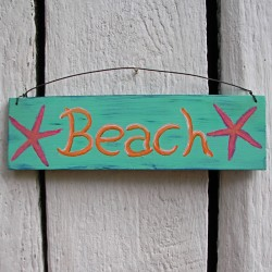 Beach Cottage Sign Primitive Folk Art Original Coral Starfish Painting