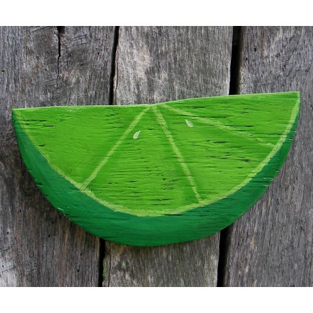 Primitive Folk Art Lime Wedge Plywood Cutout Salvaged Wood Funky