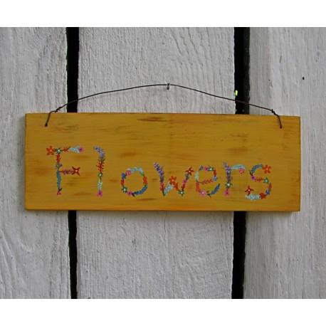 Original Cottage Chic Flowers Sign Shabby Primitive Folk Art Painting