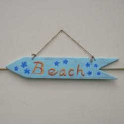 Primitive Folk Art Beach Arrow Sign Blue Flowers Original Painting