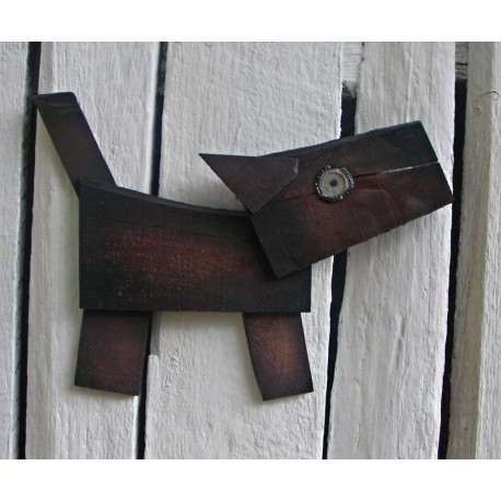 Original Funky Folk Art Dog Scrap Pile Assemblage Salvaged Wood Funky