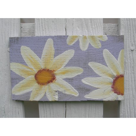Original Country Cottage Chic Yellow Daisy Primitive Folk Art Painting