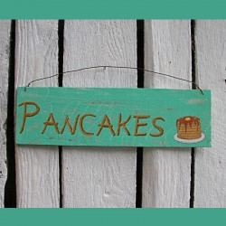 Original Primitive Folk Art Pancakes Sign Painting Farmhouse Turquoise