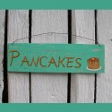 Original Primitive Folk Art Pancakes Sign Painting Farmhouse Turquoise