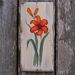Original Folk Art Orange Day Lily Cottage Chic Country Painting