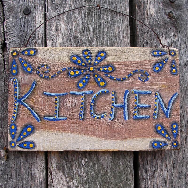 Primitive Folk Art Blue Yellow Kitchen Sign Farmhouse Decor