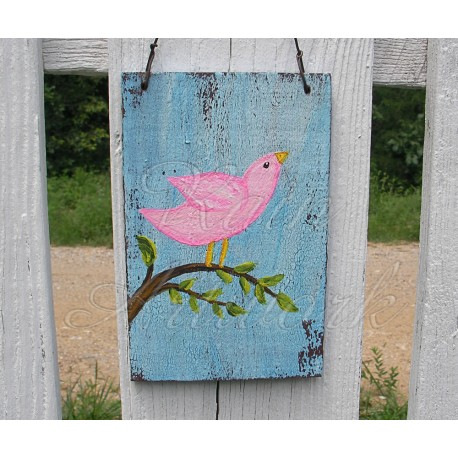 Original Primitive Folk Art Pink Bird on Branch Cottage Chic Painting