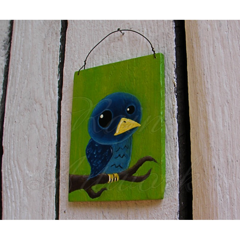 original primitive folk art blue bird on branch painting ...