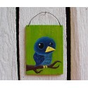 Original Primitive Funky Folk Art Blue Bird on Branch Painting