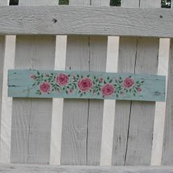 Original Door Topper Country Cottage Chic Pink Roses Primitive Folk Art