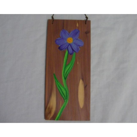 Original Primitive Folk Art Purple Flower Painting on Rustic Cedar Wood