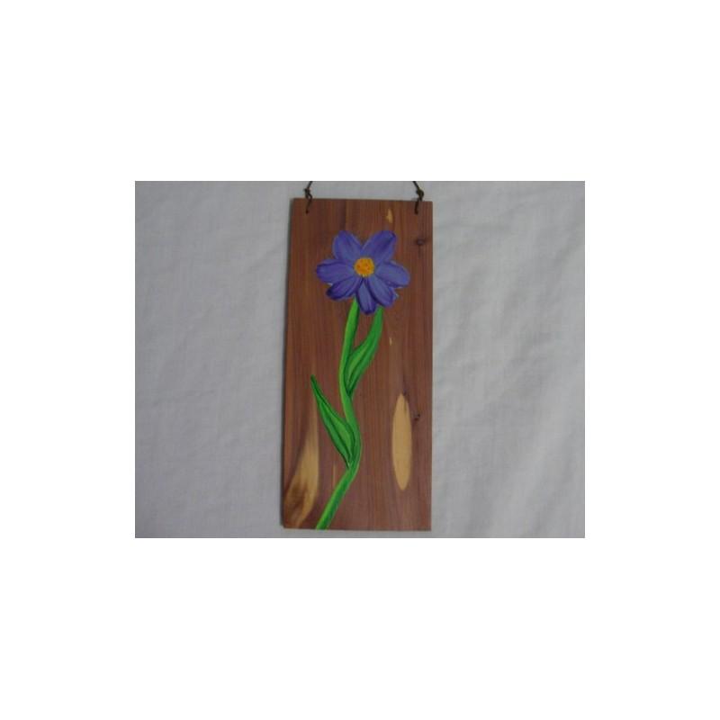 Original Primitive Folk Art Purple Flower Painting On Rustic Cedar Wood