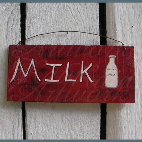 Original Primitive Folk Art Milk Sign Painting Barn Red Paint