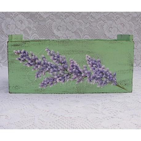 Primitive Box Folk Art Shabby Mint Paint Lavender Country Cottage Chic