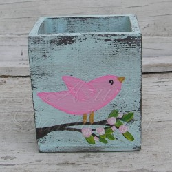 Primitive Box Folk Art Bird on Pink Roses Country Cottage Chic Decor