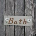 Primitive Folk Art Bath Sign With Daisies Original Painting Farmhouse Decor