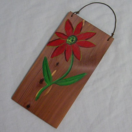 Primitive Folk Art Funky Red Daisy Flower Original Painting