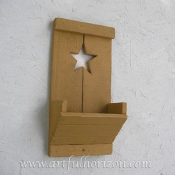 Farmhouse Country Chic Yellow Ochre Wood Star Wall Box Pocket Organizer Primitive Folk Art Custom Color Decor Reclaimed