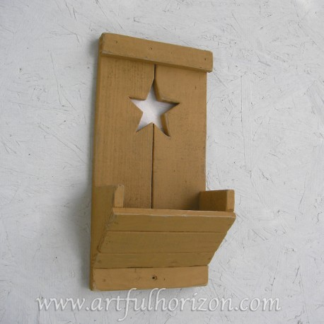 Farmhouse Country Chic Yellow Ochre Wood Star Wall Box Pocket Organizer Primitive Folk Art Customize Decor Reclaimed