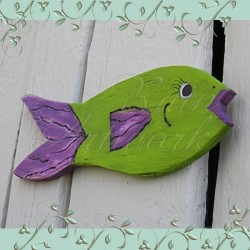 Primitive Folk Art Fish Cutout Funky Beach Cottage Pink and Lime Green
