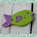 Primitive Folk Art Fish Cutout Funky Beach Cottage Purple and Lime Green