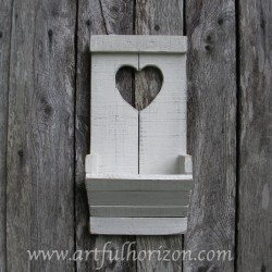 Primitive Folk Art Heart Wall Organizer Cottage Chic Heart White Wall Box Wood Pocket Country Cottage Chic Custom Color
