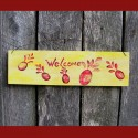 Original Primitive Folk Art Pineapple Welcome Sign Yellow Paint