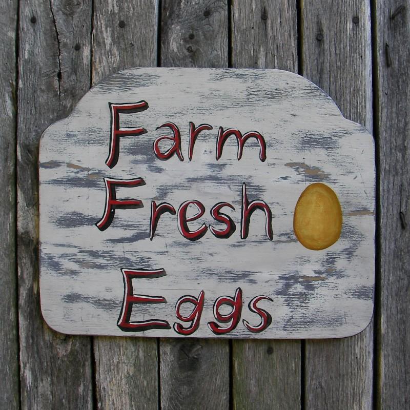 Original Primitive Folk Art Farmhouse Farm Fresh Eggs Sign