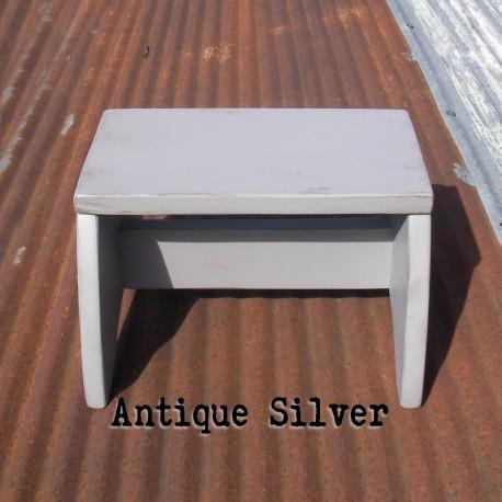 Antique Silver Primitive Folk Art Wood Step Stool Farmhouse Decor Painted Footstool Modern Farmhouse Home Decor Furniture