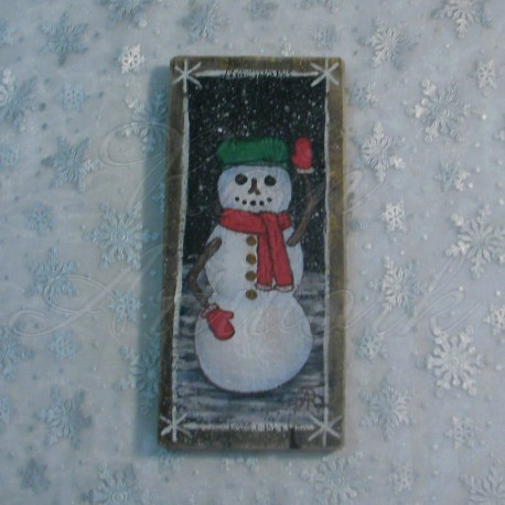 Primitive Folk Art Snowman Original Painting Christmas Decor