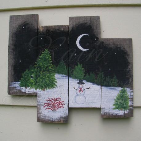 Original Primitive Folk Art Snowman Winter Scene At Night Painting