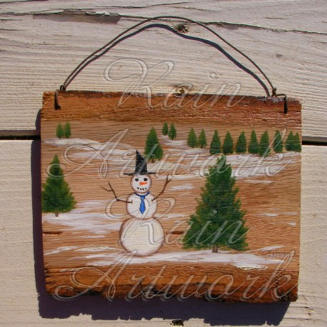 Original Primitive Folk Art Snowman Winter Scene Painting